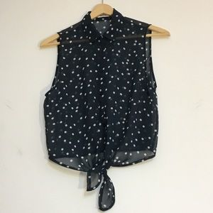 Garage chiffon blue and white polkadot top small